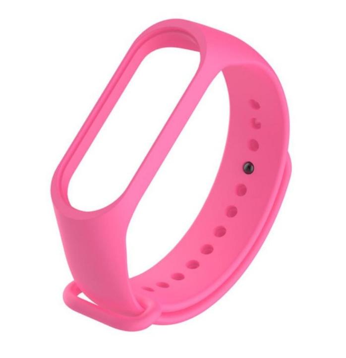 Силиконовый ремешок для Xiaomi Mi Band 3/4 (Розовый)