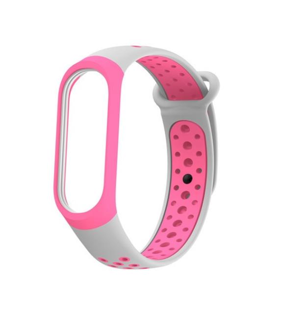 Силиконовый ремешок для Xiaomi Mi Band 3 (Спорт - Серо / Розовый )