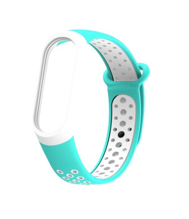 Силиконовый ремешок для Xiaomi Mi Band 3 (Спорт - Бело / Голубой )