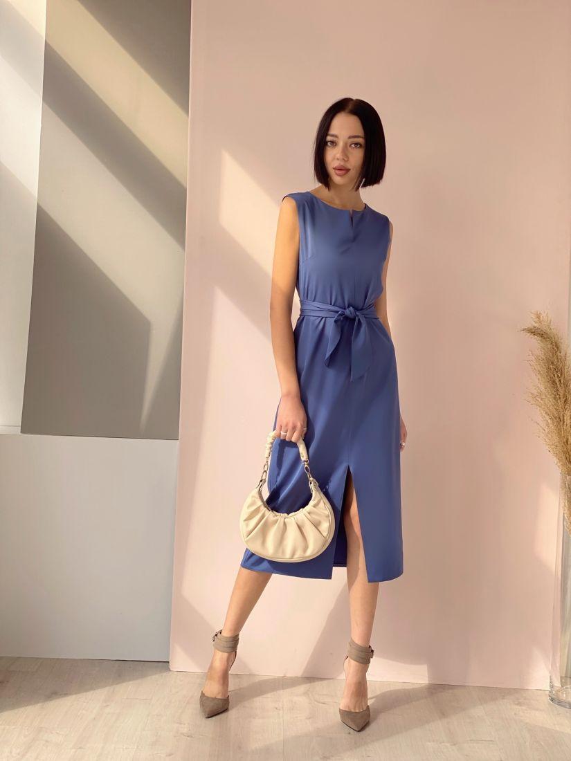 4540 Базовое платье серо-голубое