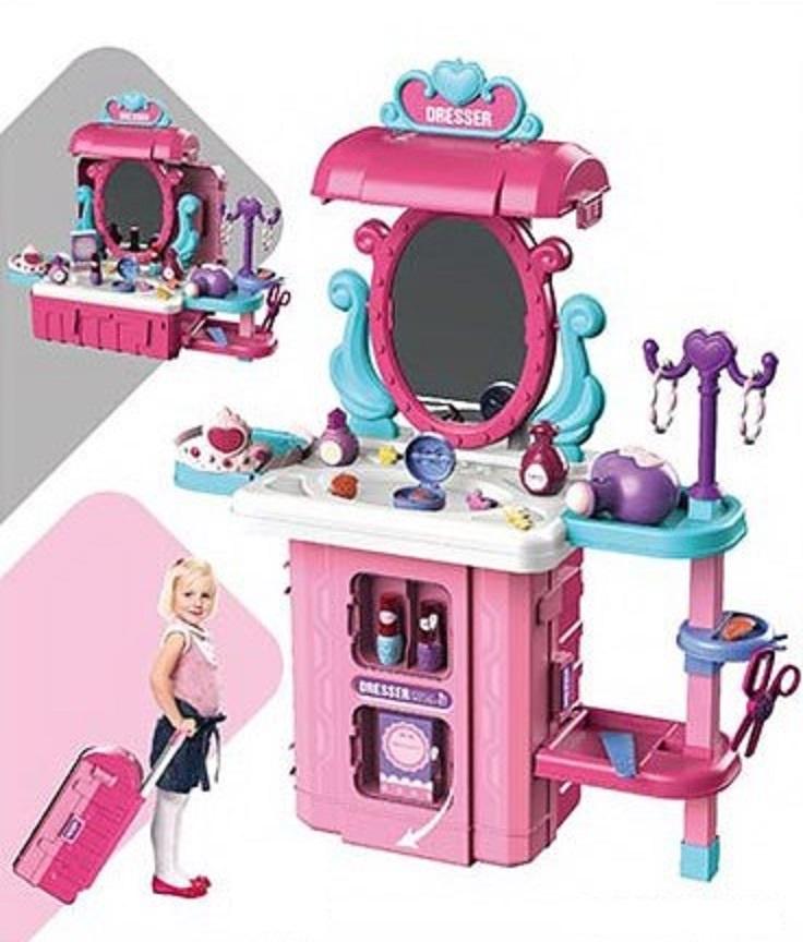 8125P Туалетный столик трюмо для девочек в чемодане 3 в 1