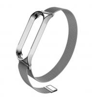 Металлический ремешок для Xiaomi Mi Band 3 (Серебро / Магнитная застёжка)