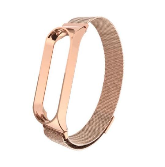 Металлический ремешок для Xiaomi Mi Band 3 (Розовое золото / Магнитная застёжка)