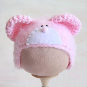 Вязаная шапочка Мишка Тедди розовый