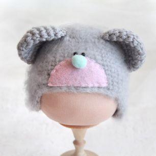 Вязаная шапочка Мишка Тедди серый