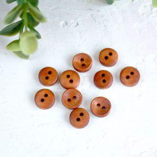 Деревянные пуговицы  коричневые, 10 шт., 10 мм.