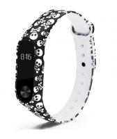 Силиконовый ремешок для Xiaomi Mi Band 2 ( Черепа )
