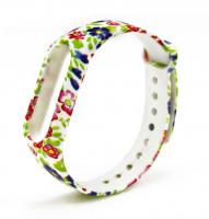 Силиконовый ремешок для Xiaomi Mi Band 2 ( Орнамент / цветы )