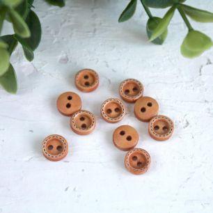 Деревянные пуговицы светло - коричневые с контуром, 10 шт., 5 мм.