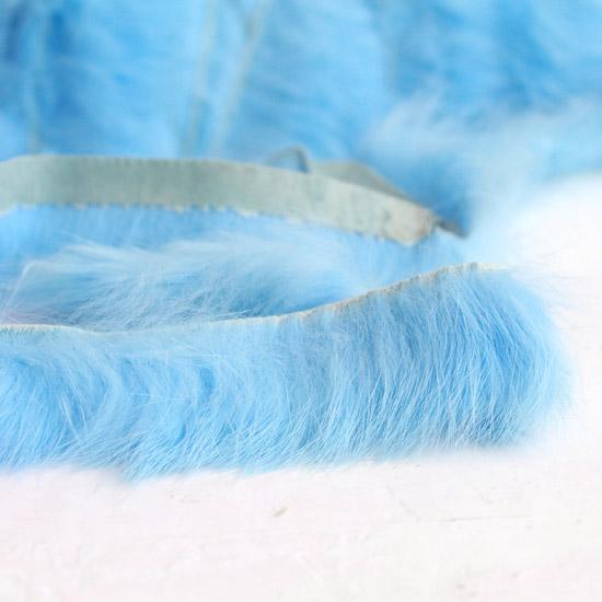 Тесьма-мех (кролик) голубая, 3,5 см.