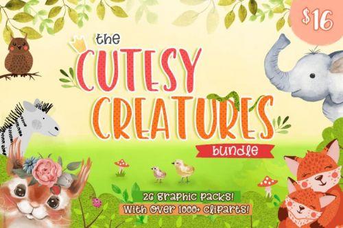 [TheHungryJPEG] Набор графики The Cutesy Creatures Bundle / Милые зверята