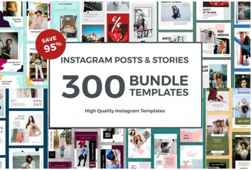 [creativemarket.com] 300 Bundle Templates Instagram and Stories, июнь 2019