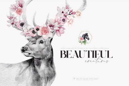Watercolor Animal Portraits Flowers Wall Posters PNG JPEG [Busy May Studio]