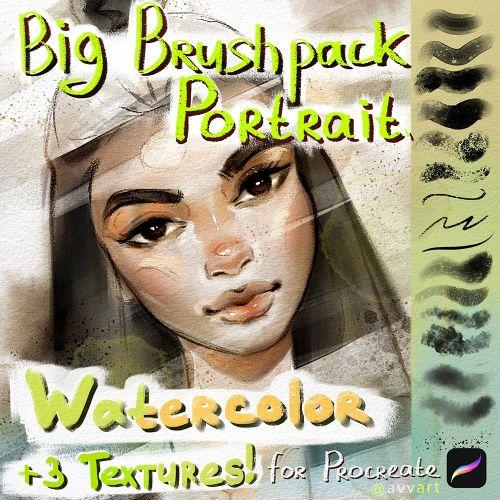 Portrait Watercolor Big BrushPack for Procreate (avvart)