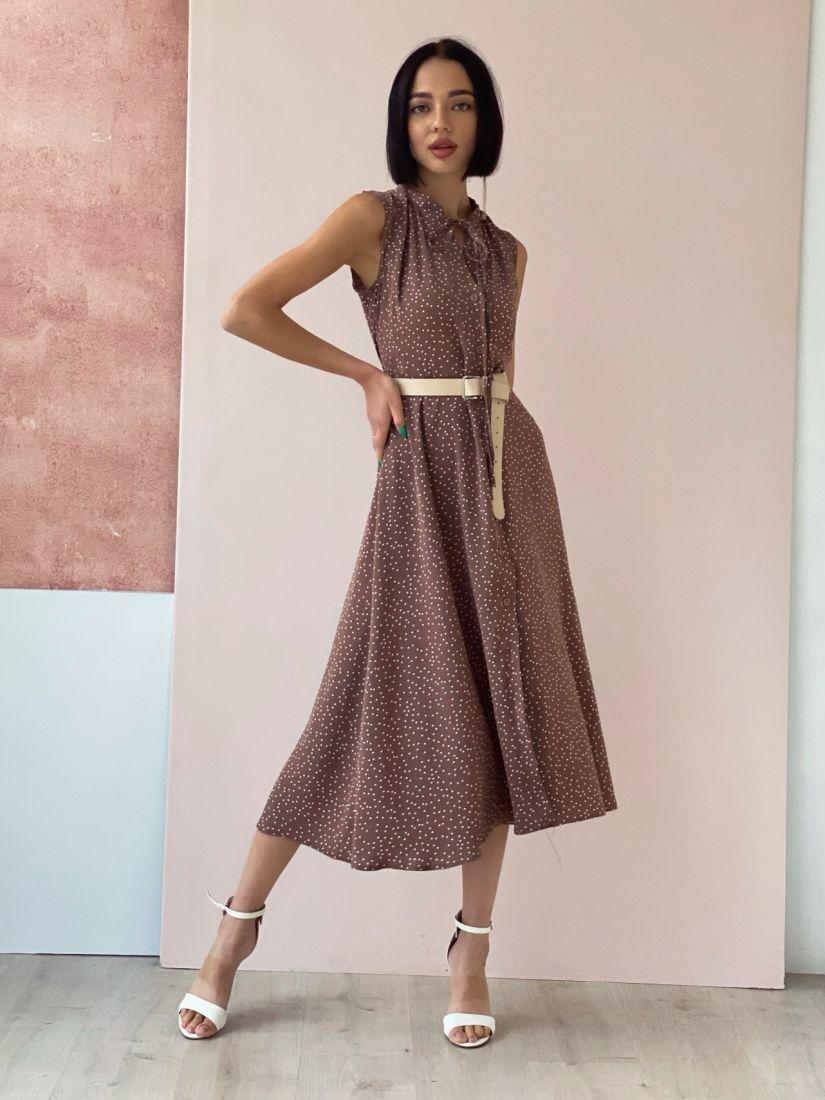 4544 Платье на пуговичках кофейное в горошек