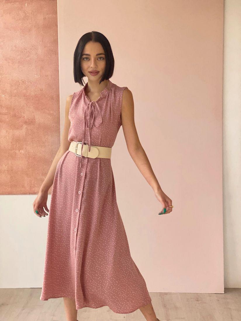 4545 Платье на пуговичках пудровое в горошек