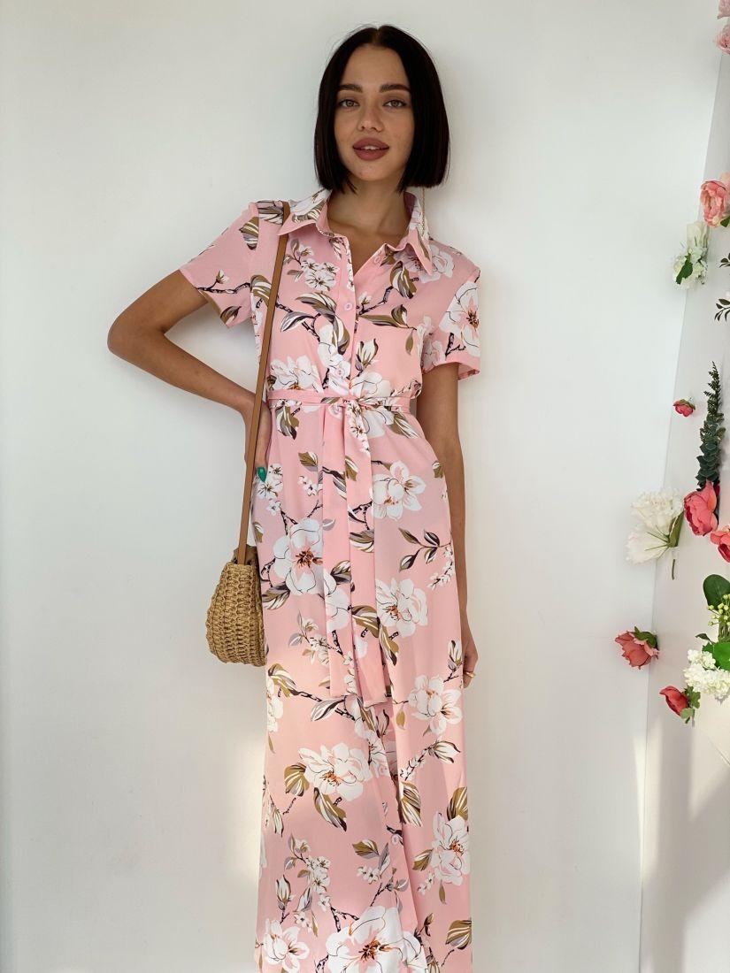 4546 Платье-рубашка розовое с цветами