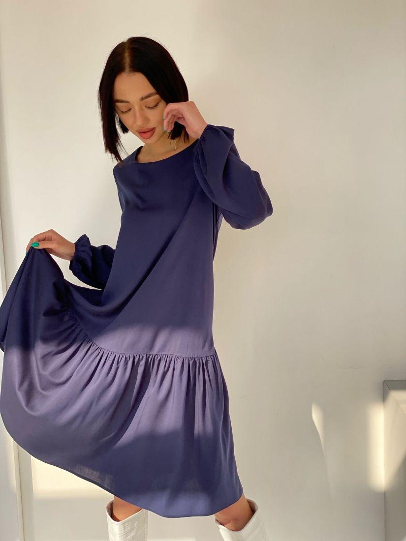4548 Платье с воланом тёмно-синее