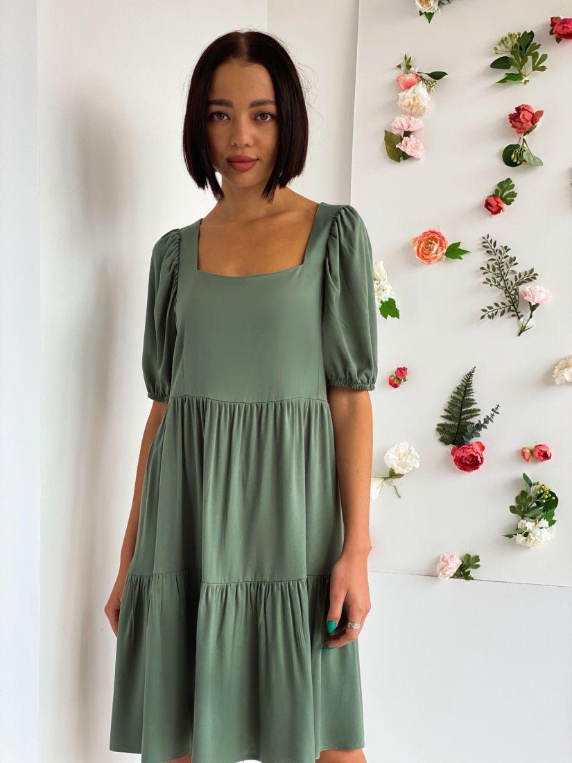4555 Платье-парашют в цвете папоротника