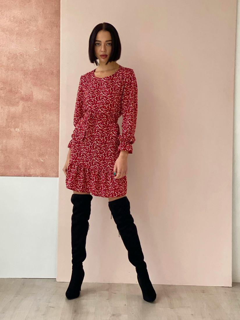 4556 Платье красное с мелкими цветочками