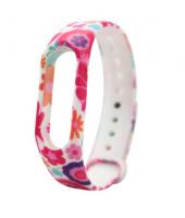 Силиконовый ремешок для Xiaomi Mi Band 2 ( Цветы / розовые )