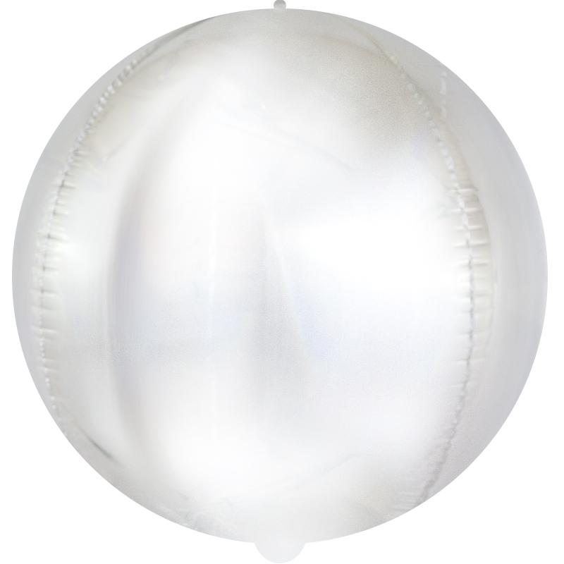 Шар (24''/61 см) Сфера 3D, Матовое серебро, Голография,