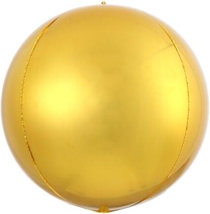 Шар (20''/51 см) Сфера 3D, Золото, 1 шт