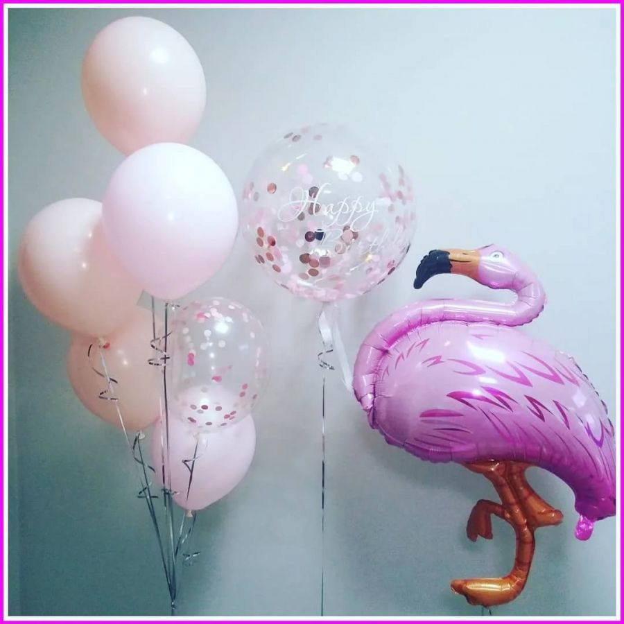 Шар фламинго и фонтан