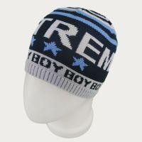 зм1203-74 Шапка колпачок вязаная Extreme boy сине-черная