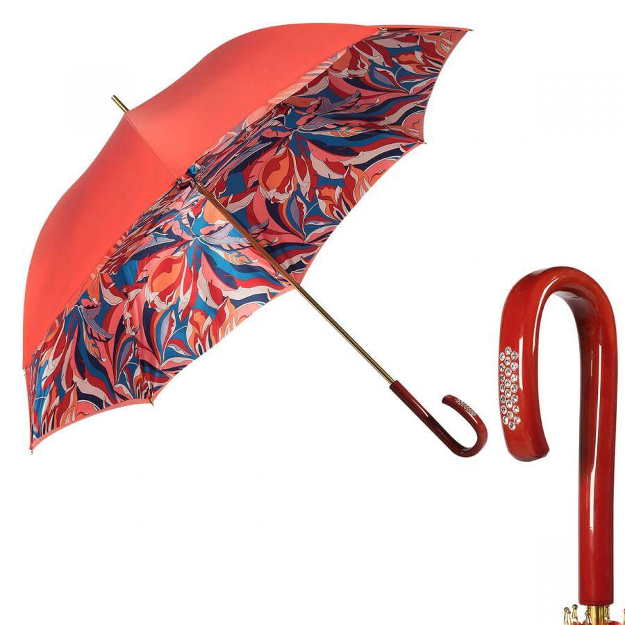 Зонт-трость Pasotti Coral Lumino Rosso Strass