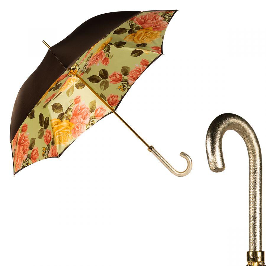 Зонт-трость Pasotti Morrone Di Rose Gialle Pelle Dorata