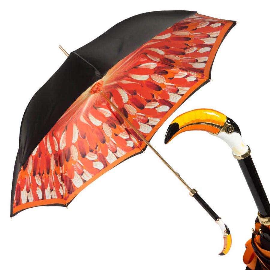 Зонт-трость Pasotti Nero Penna Tukan Lux