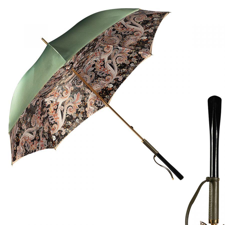 Зонт-трость Pasotti Oliva Paisley Diritto Pelle