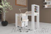 Маникюрный стол Matrix с подставкой для лаков и тумбой - фото 3