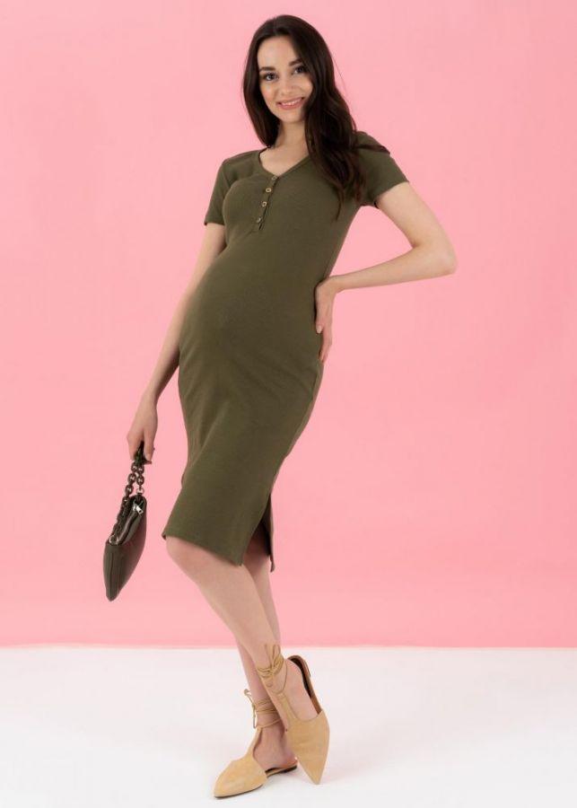 """Платье """"Алиса"""" для беременных и кормящих; цвет: хаки"""