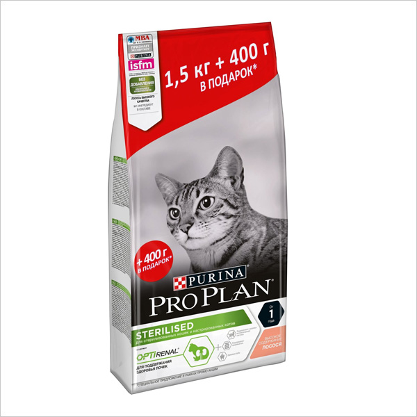 Сухой корм для стерилизованных кошек Pro Plan Sterilised OPTIRenal с лососем 1.5 кг + 400 г в подарок