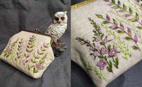 Вышитый кошелёк с фермуаром с нуля (nadin.needlework)