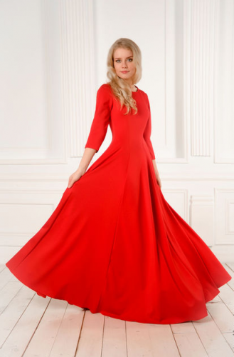 Выкройка длинного платья в пол клёш с рельефами (Вера Ольховская)