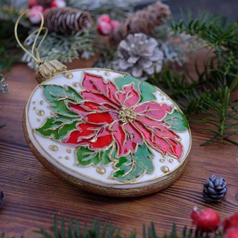 Витражный пряник с цветком на Новый Год (Виктория Назаренко)