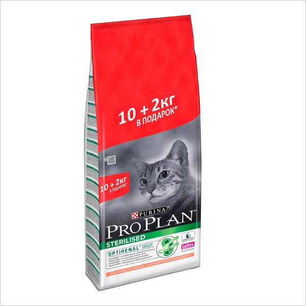 Сухой корм для стерилизованных кошек Pro Plan Sterilised OPTIRenal с лососем 10 кг + 2 кг в подарок