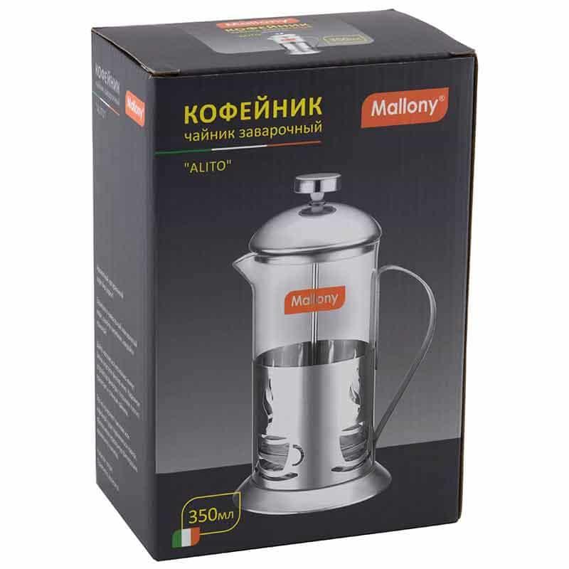 Чайник/кофейник (кофе-пресс), ALITO, из жаропрочного стекла, объем 600 мл, в корп из нерж стали