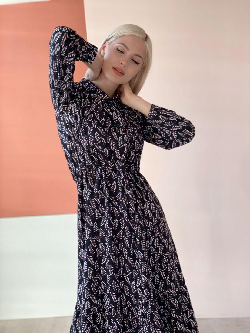 2709 Платье-рубашка с кулиской чёрное с веточками