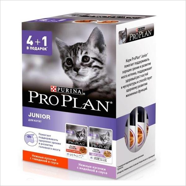 Влажный корм для котят Pro Plan Junior кусочки в соусе с говядиной и индейкой 4шт х 85 гр + 1 пауч в подарок