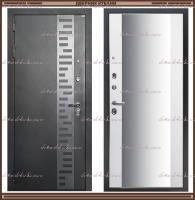 Входная дверь Зеркало Макси Муар чёрный / Белый софт 100 мм Россия