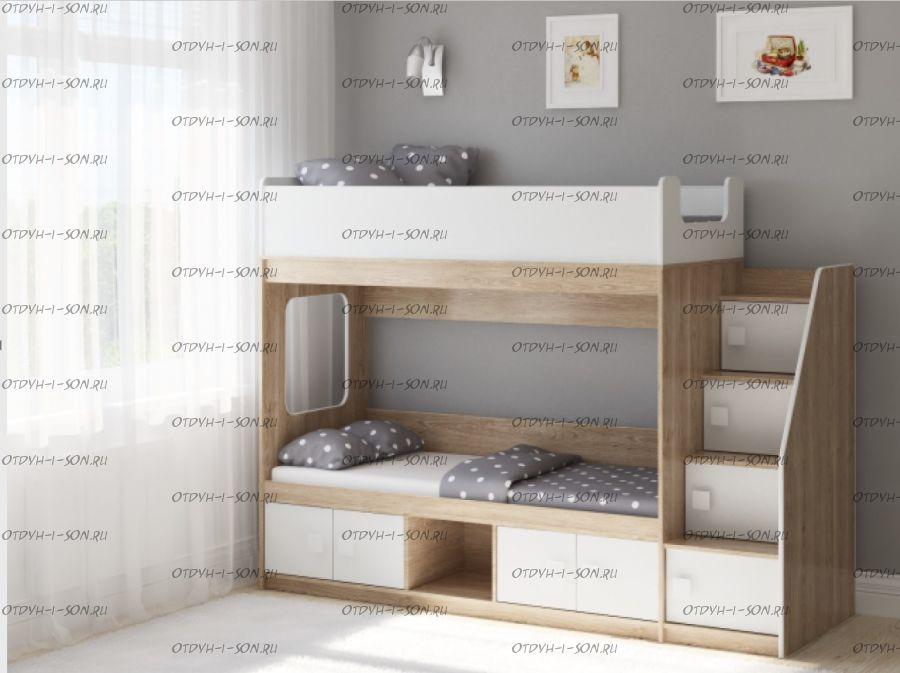 Кровать двухъярусная Легенда D605.3, два варианта цвета