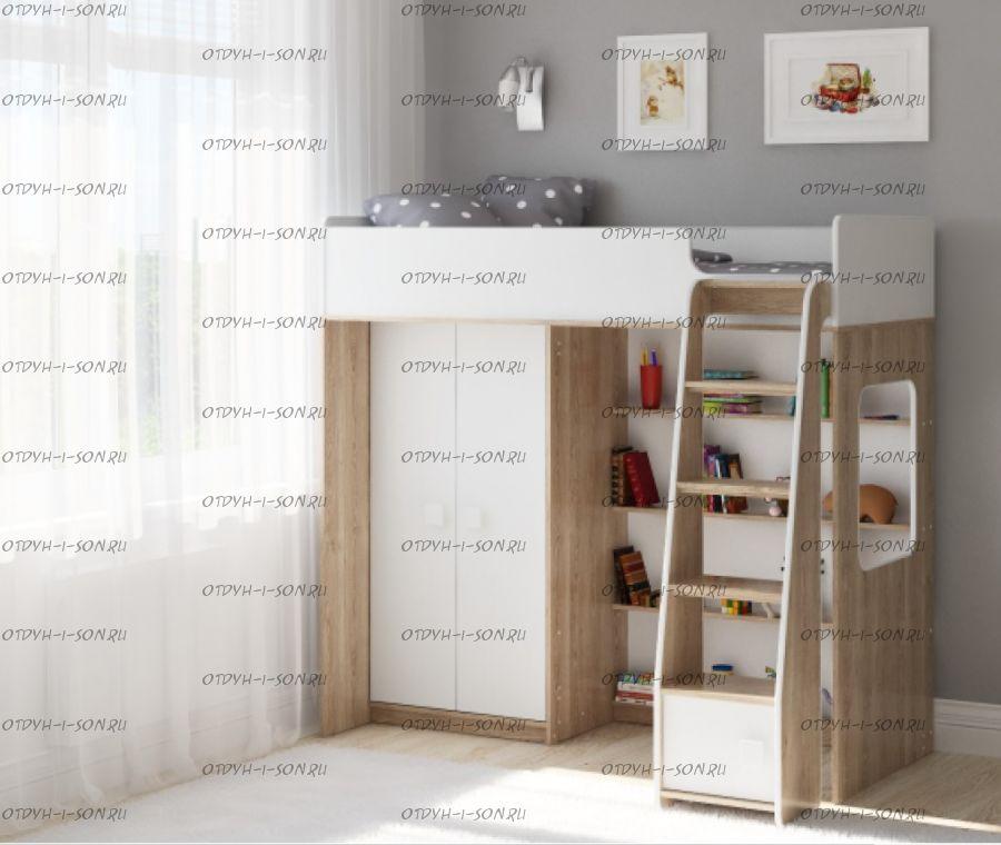 Кровать-чердак Легенда A601.1, два варианта цвета