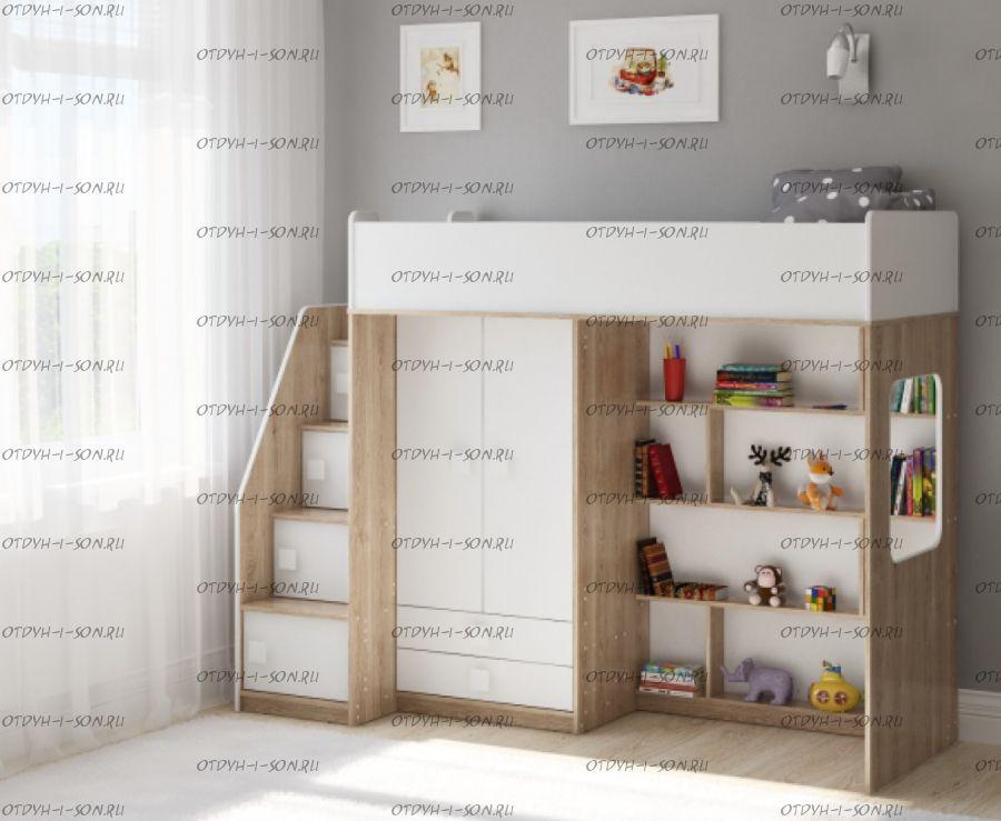 Кровать-чердак Легенда A604.3, два варианта цвета