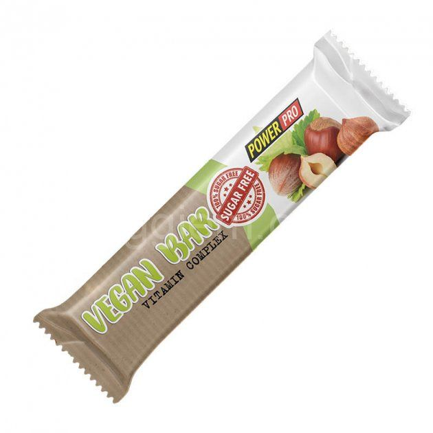 Батончик Power Pro Vegan без сахара, 32% протеина, 60 грамм