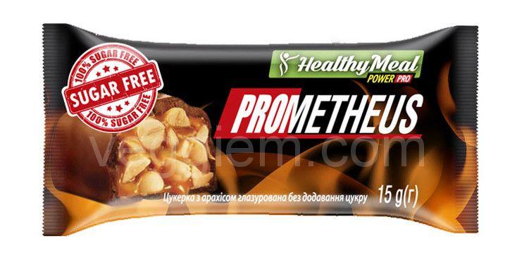 """Конфеты Healthy Meal """"PROMETHEUS"""" с арахисом глазированные без сахара, 15 грамм"""