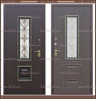 Входная дверь Венеция ковка РДК Антик медь / Венге графит 80 мм со стеклопакетом Россия